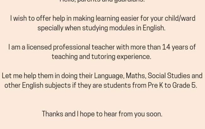 Home Service Tutor Available